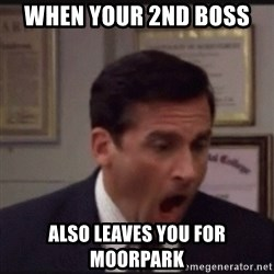 michael scott yelling NO - When your 2nd boss  also leaves you for moorpark