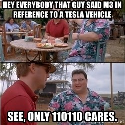 See? Nobody Cares - Hey eVerybody that Guy said m3 in reference to a tesla Vehicle See, only 110110 cares.
