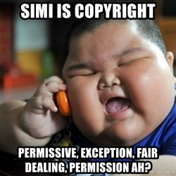 fat chinese kid - SIMI IS copyright permissive, exception, fair dealing, permission ah?
