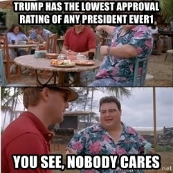 See? Nobody Cares - Trump has the lowest approval rating of any president ever1 you see, nobody cares