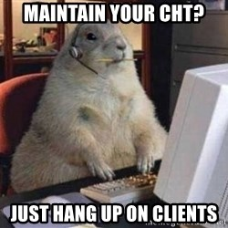 Squirrel (hilarious) - Maintain your CHT? just hang up on clients