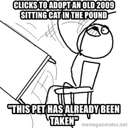 "table flip - Clicks to adopt an old 2009 sitting cat in the pound ""This pet has already been taken"""