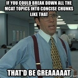 Yeah that'd be great... - If you could break down all the MCAT topics into concise chunks like that that'd be greaaaaat