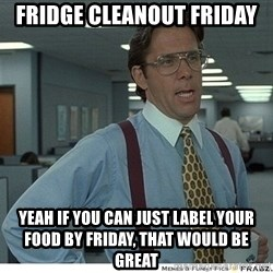 That would be great - Fridge Cleanout FRiday Yeah if you can just label your food by Friday, that would be great