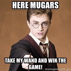 Advice Harry Potter - Here mugars  Take my wand and win the game!
