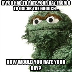 Sad Oscar - If you had to rate your day from 0 to oscar the grouch... How would you rate your day?
