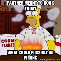 Homer Cooking - partner meant to cook today What could possibly go wrong