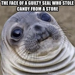 Awkward Seal - The face of a guilty SEAL WHO STOLE CANDY FROM A STORE