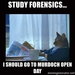 i should buy a boat cat - Study forensics... I should go to murdoch open day