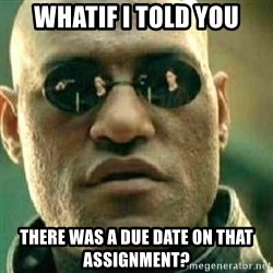 What If I Told You - whatif I told you there was a due date on that assignment?