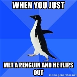 Socially Awkward Penguin - When yoU just Met a penguin and he flips out