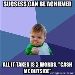 "Success Kid - sucsess can be achieved all it takes is 3 words. ""cash me outside"""