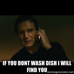 liam neeson taken -  if you dont wash dish i will find you