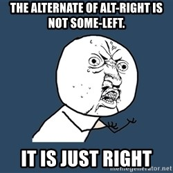 Y U No - The ALternate of Alt-Right is not some-Left. It is just Right