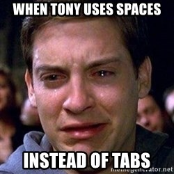 spiderman cry - when tony uses spaces instead of tabs