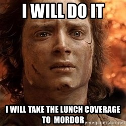 Frodo  - I will do it I will take the lunch coverage to  mordor