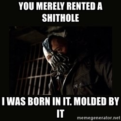 Bane Dark Knight - You merely Rented a Shithole I was born in it. Molded by it