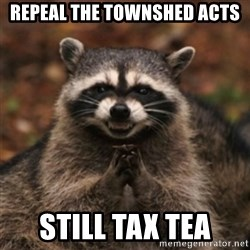 evil raccoon - repeal the townshed acts still tax tea