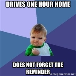 Success Kid - DRIVES ONE HOUR HOME DOES NOT FORGET THE REMINDER