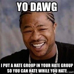 Yo Dawg - Yo dawg I put a hate group in your hate group so you can hate while you hate