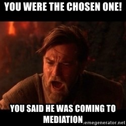 You were the chosen one  - You were the chosen one! You said he was coming to mediation