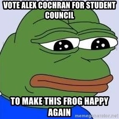 Sad Frog Color - vote alex cochran for student council to make this frog happy again