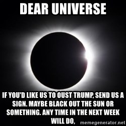 solar eclipse - Dear Universe If you'd like us to oust Trump, send us a sign. Maybe Black out the sun or something. Any time in the next week will do,