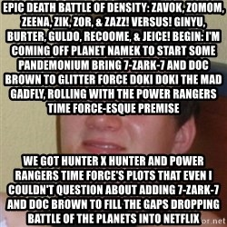 Stoner Stanley - EPIC DEATH BATTLE OF DENSITY: ZAVOK, ZOMOM, ZEENA, ZIK, ZOR, & ZAZZ! VERSUS! GINYU, BURTER, GULDO, RECOOME, & JEICE! BEGIN: I'm coming off Planet Namek to start some pandemonium bring 7-Zark-7 and Doc Brown to Glitter Force Doki Doki The mad gadfly, Rolling with the Power Rangers Time Force-esque premise We got Hunter x Hunter And Power Rangers Time Force's plots That even I couldn't question about adding 7-Zark-7 and Doc Brown to fill the gaps dropping Battle of the Planets into Netflix