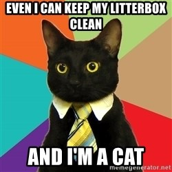 Business Cat - even i can keep my litterbox clean and i'm a cat
