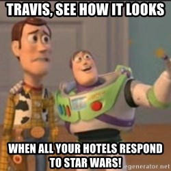 X, X Everywhere  - travis, see how it looks when all your hotels respond to star wars!