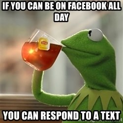 Kermit The Frog Drinking Tea - If you can be on facebook all day you can respond to a text