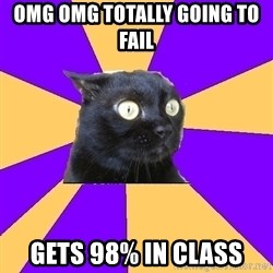 Anxiety Cat - OMg omg totally going to fail Gets 98% in class