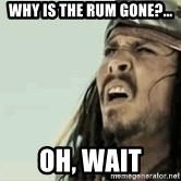 Jack Sparrow Reaction - why is the rum gone?... oh, wait