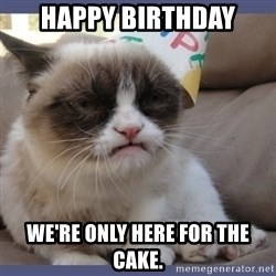 Birthday Grumpy Cat - Happy birthday we're only here for the cake.