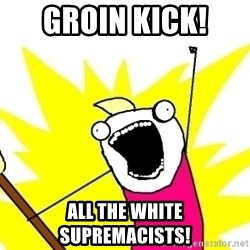 X ALL THE THINGS - groin kick!  all the white supremacists!