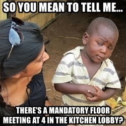 Skeptical 3rd World Kid - So you mean to tell me... There's a Mandatory floor meeting at 4 in the kitchen lobby?