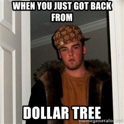 Scumbag Steve - WHEN YOU JUST GOT BACK FROM DOLLAR TREE