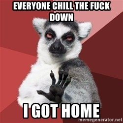 Chill Out Lemur - everyone chill the fuck down I got home