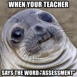 "Awkward Seal - When your teacher SAYS THE WORD ""ASSESSMENT"""