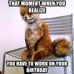 drunk fox - That moment when you realize you have to work on your birthday
