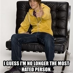 Justin Bieber Pointing -  I guess I'm no longer the most hated person.