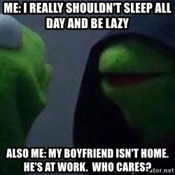 Evil kermit - Me: i really shouldn't sleep all day and be lazy also me: my boyfriend isn't home.  he's at work.  who cares?