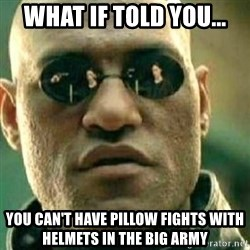 What If I Told You - what if told you... you can't have pillow fights with HELMETS IN THE BIG ARMY