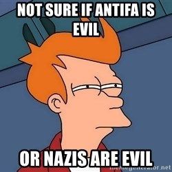Futurama Fry - not sure if Antifa is evil or Nazis are evil