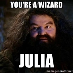 Yer A Wizard Harry Hagrid - You're a wizard Julia