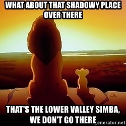 simba mufasa - What about that shadowy place over there That's the lower valley simba, we don't go there
