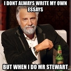 The Most Interesting Man In The World - i dont always write my own essays but when i do Mr stewart