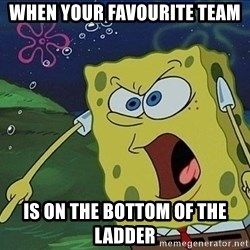 Spongebob Rage - When youR favourite team  Is on the bottom of the ladder