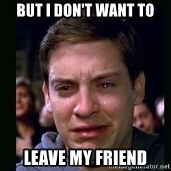 crying peter parker - but I don't Want to Leave my friend
