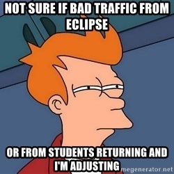 Futurama Fry - Not sure if bad traffic from eclipse or from students returning and i'm adjusting